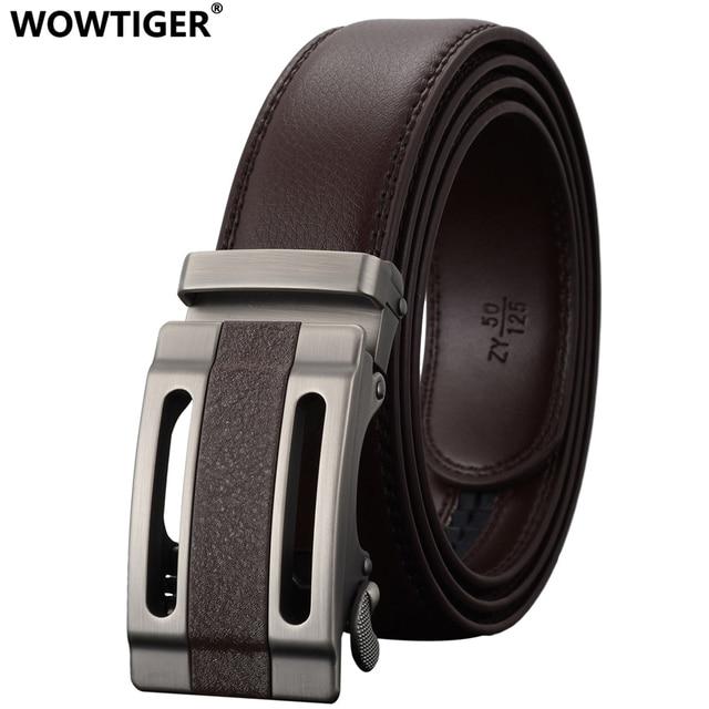 42503c70d7b5 WOWTIGER Mode Automatique Boucle Hommes En Cuir Jeans De Luxe Ceinture  designers Haute qualité Alliage Boucle