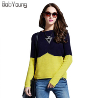 LIKEPINK 2016 Autumn Women Cashmere Pullover Patchwork Wool Sweaters Knitted Sudaderas Jumper Jerseys Mujer Pull Long