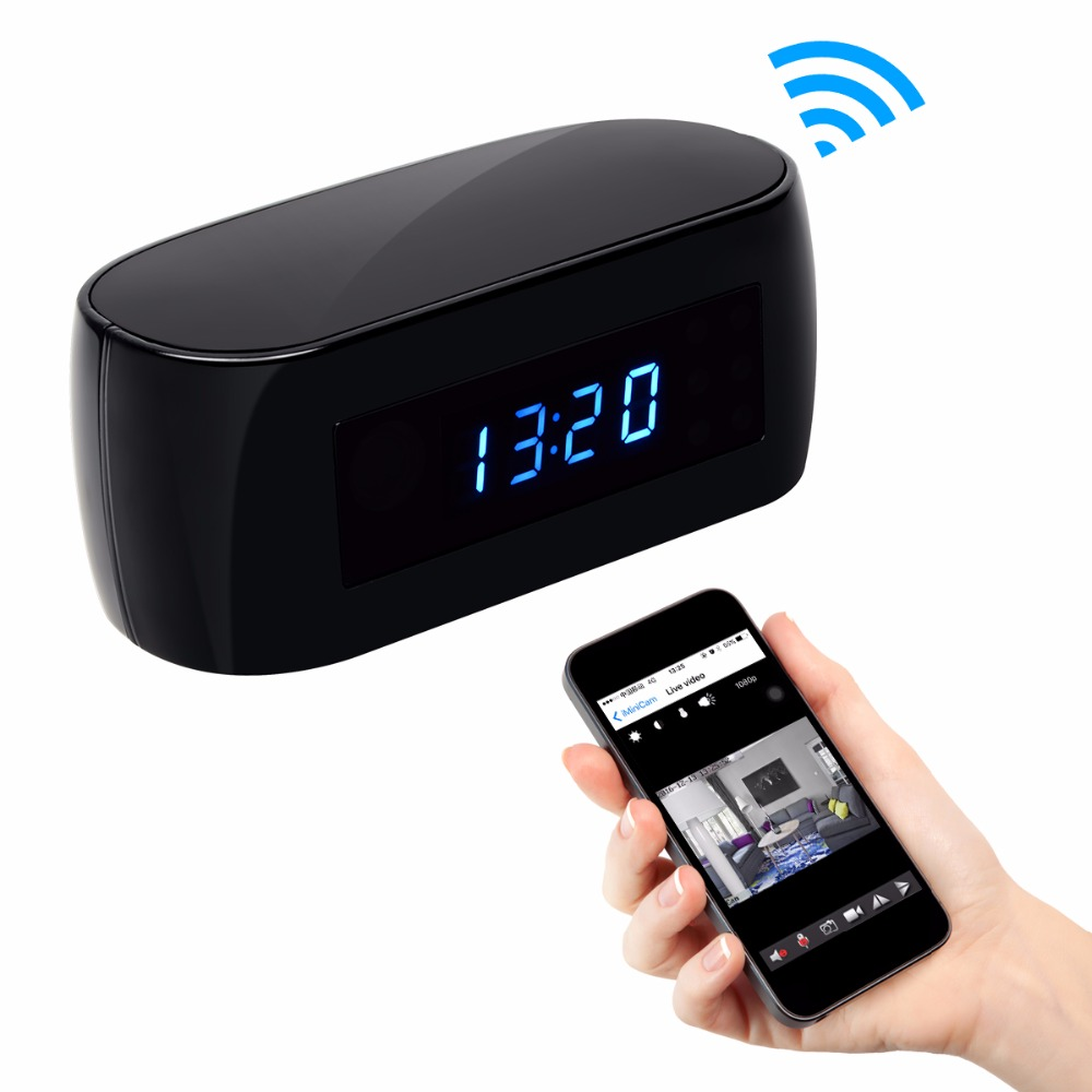 1080P Mini Wifi Camera with Time display Electronic Clock P2P Motion Detection Two-way Intercom Wi-Fi IP Camera Video Recorder