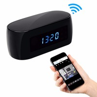 1080P Mini Wifi Camera With Time Display Electronic Clock P2P Motion Detection Two Way Intercom Wi