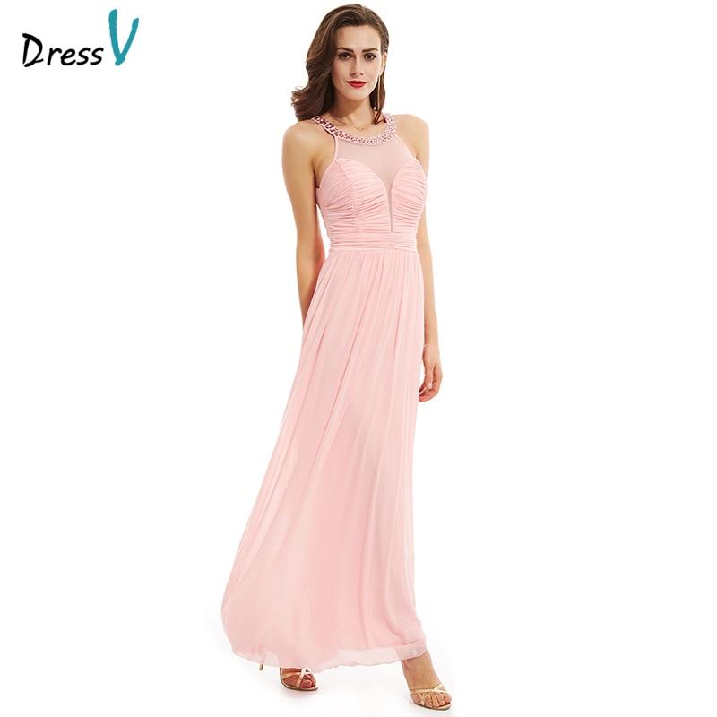 Discount Designer Evening Dresses: Dressv Peach Crystal A Line Long Evening Dress 2017 Cheap