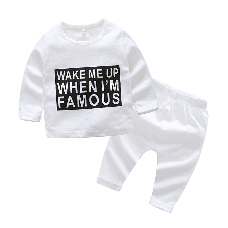 2PCS Baby Boys Girls Clothing Sets Cotton Letter Printed Kids Clothes Suit Tops +Pants Clothes 2018 New Outwear