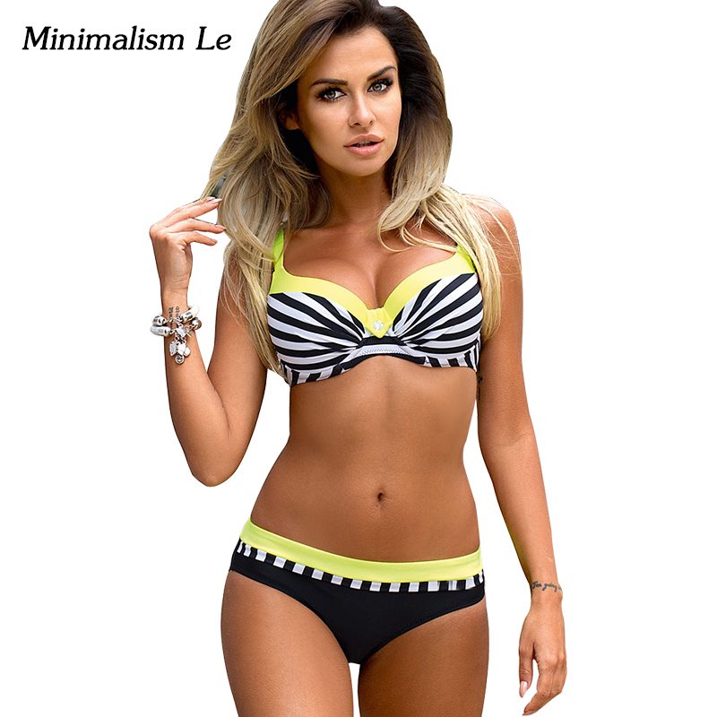 Minimalism Le Sexy Striped Bikini 2017 Women Swimwear Push Up Maillot Beach Wear Monokini Bandage Biquini Bathing Suits BK734