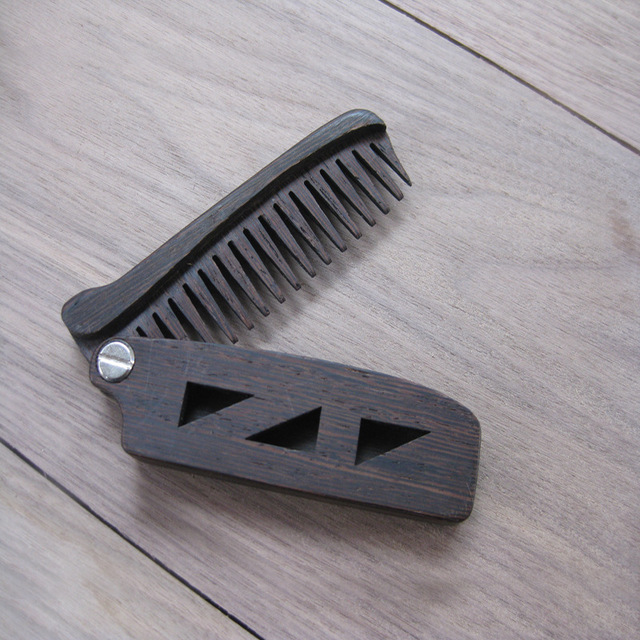 Zgtglad 1pc Wooden Folding Beard Comb Pocket Size Moustache And Hair Combs Anti Static Comb For Men Women Hair Care Tools