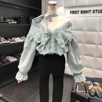 Women Shirt Spring New Sweet V Collar Lace Crochet Splicing Horn Sleeve Lotus Leaf Edge Blouse Blusas Girls All-match Basic Tops