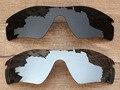 Negro y Plata Del Cromo 2 Unidades Polarizado Lentes De Repuesto Para Trayectoria Del Radar de las gafas de Sol de Marco 100% UVA y Uvb