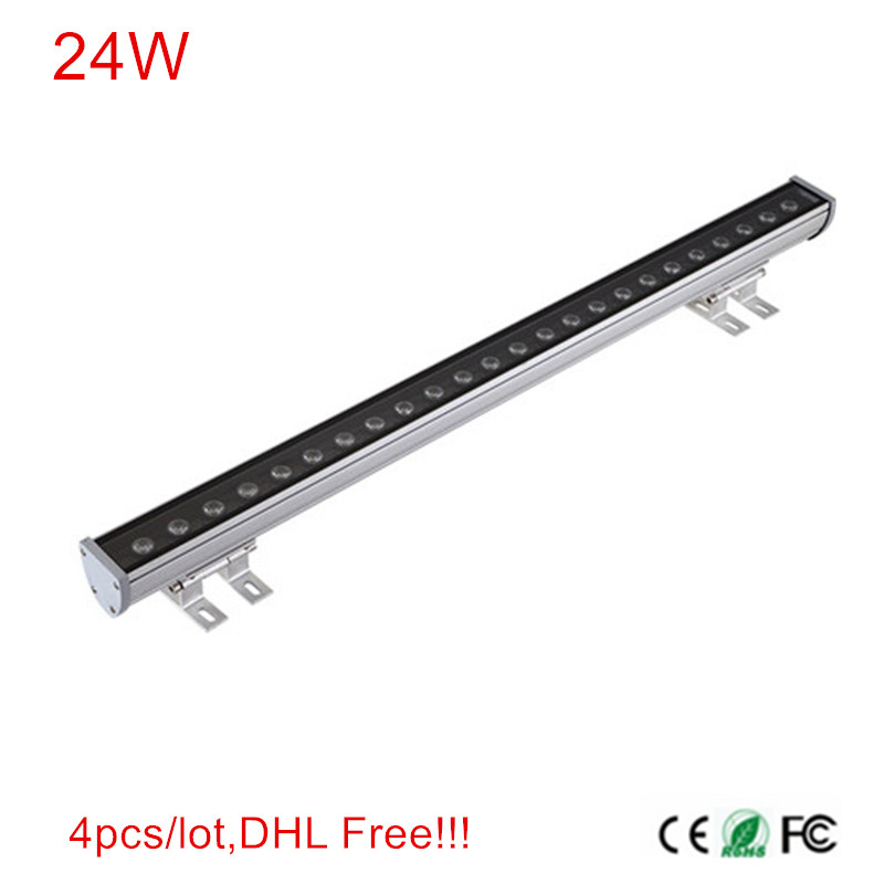 4pcs/lot DHL Free Shipping Super Bright led 24W LED Wall Washer Light Led flood light waterproof led lamp 1000*46*46mm 6pieces dhl free shipping super bright 38leds rgbw remote control waterproof outdoor wireless glowing module led