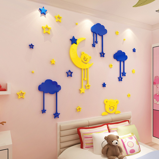 good night bear and moon design 3d acrylic wall stickers baby room