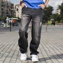 Высокое Качество Черный Свободные Мешковатые Джинсы Для Мужчин Хип-Хоп Свободная Посадка джинсы Для Мужчин Плюс Размер Одежды Для Больших Мужчин 40 42 44 46