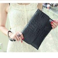 2016 Elegant Fashion Genuine Leather Envelope Bag Women Ladies Hand Bag Crocodile Grain Evening Clutch Bag