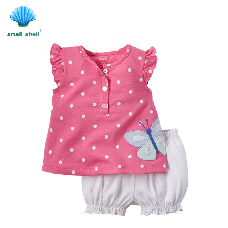 small shell 2016 summer style children kids clothing sets ...
