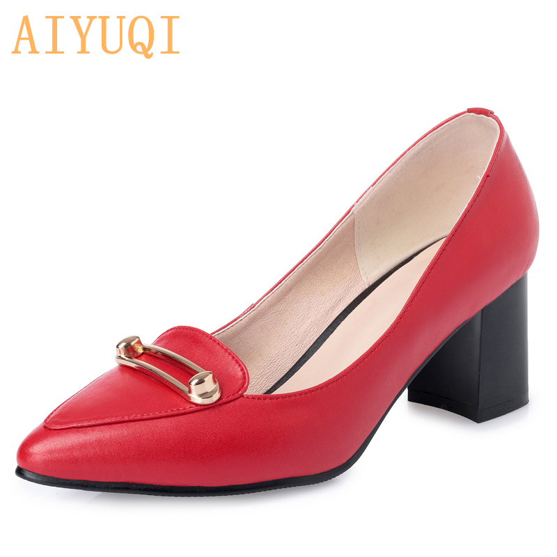 AIYUQI 2019 fall new Fashion Women Shoes Genuine Leather Women Square High Heel Women Pumps Pointed