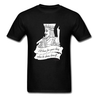 Latest Poker Card King Print T Shirt For Adult Large Size Black White Classic Color T