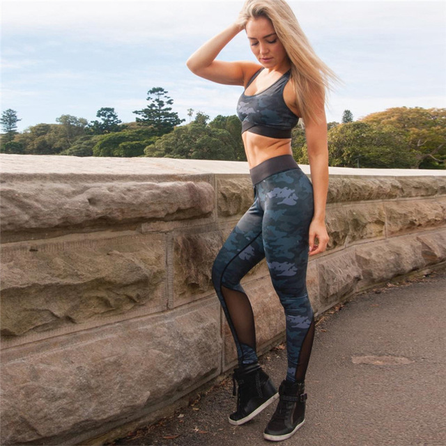 Camouflage Mesh Fitness Sport Suits Women's Yoga Clothing Set Sexy Workout Sportswear Female Tracksuits Athletic Running Clothes 3