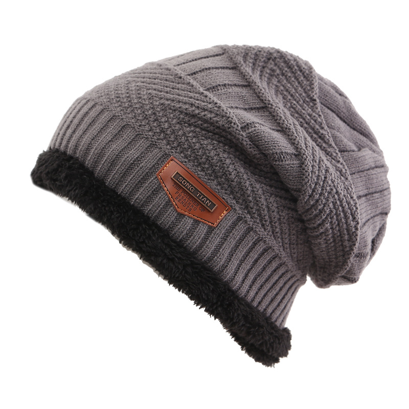 71bd70ed847 Winter Hat For Women Men Knitted Hat Hot Selling Ski Cap Cold Warm Leather  Bonnet Warm Cap Skullies Beanies-in Skullies   Beanies from Apparel  Accessories ...
