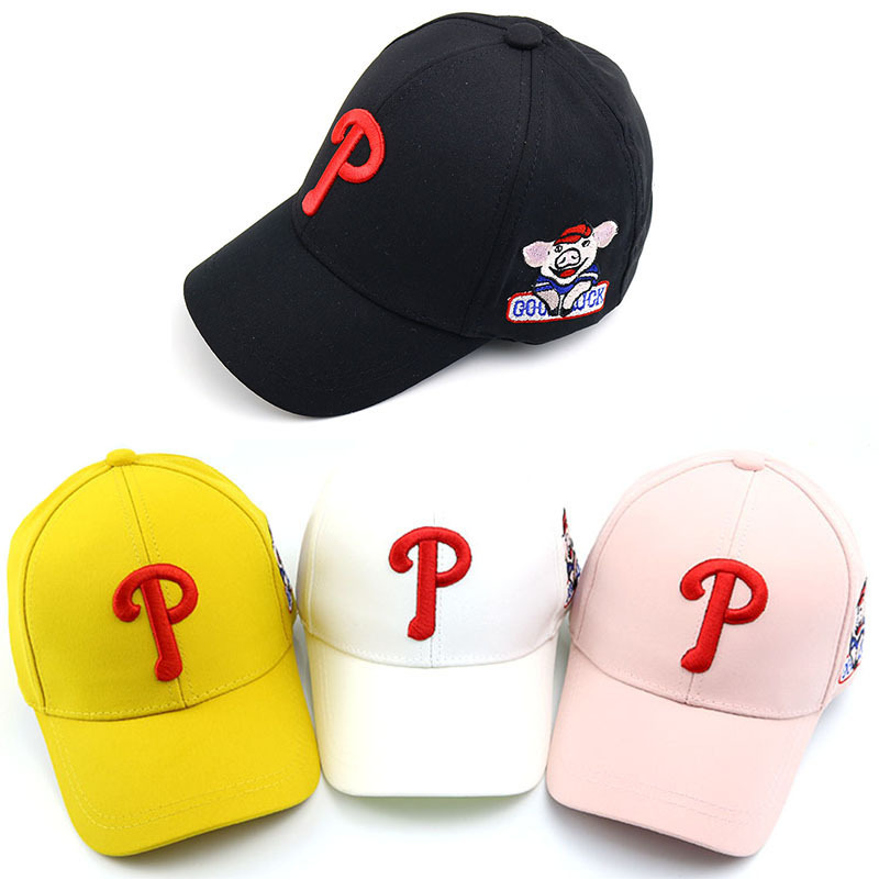 2019 Fashion Baby Boy And Girl Hat Cartoon Letter P Baseball Caps New Children's Outdoor Summer Sun Hat Kids Snapback Beanies Attractive Appearance
