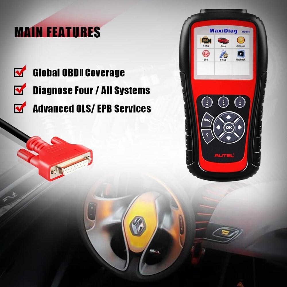 Image 3 - New Autel MaxiDiag MD805 Full System OBD2 Scanner Car Diagnostic Tool Code Reader Scaner better than Autel MD802 Update Online