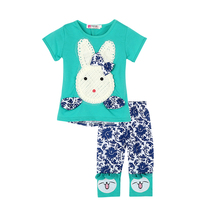 Hot Sales 2PC/Sets Baby Kid Summer Short Sleeve Tops and  Pants Suits Toddler Cartoon Little Rabbit T-Shirt&Pants DR5046
