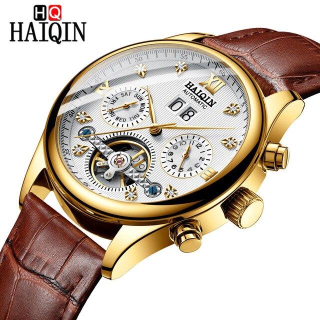 HAIQIN Mens Watches Mechanical Tourbillon Luxury Fashion Brand Leather Man Sport Automatic Watch Reloj Hombre 2018