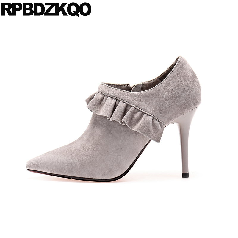 Gray Shoes Embellished Ankle Short Luxury Booties Pointed Toe Autumn 2017 Suede Sheepskin High Heel Side Zip Boots Stiletto metal heel boots high ladies ankle short autumn shoes pointed toe stiletto booties 2017 suede slip on female new nude fashion
