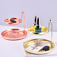 Double Layer Makeup Organizers Desktop Jewelry Necklace Earrings Bracelet Storage Tray Home Decor Display Holder Accessories