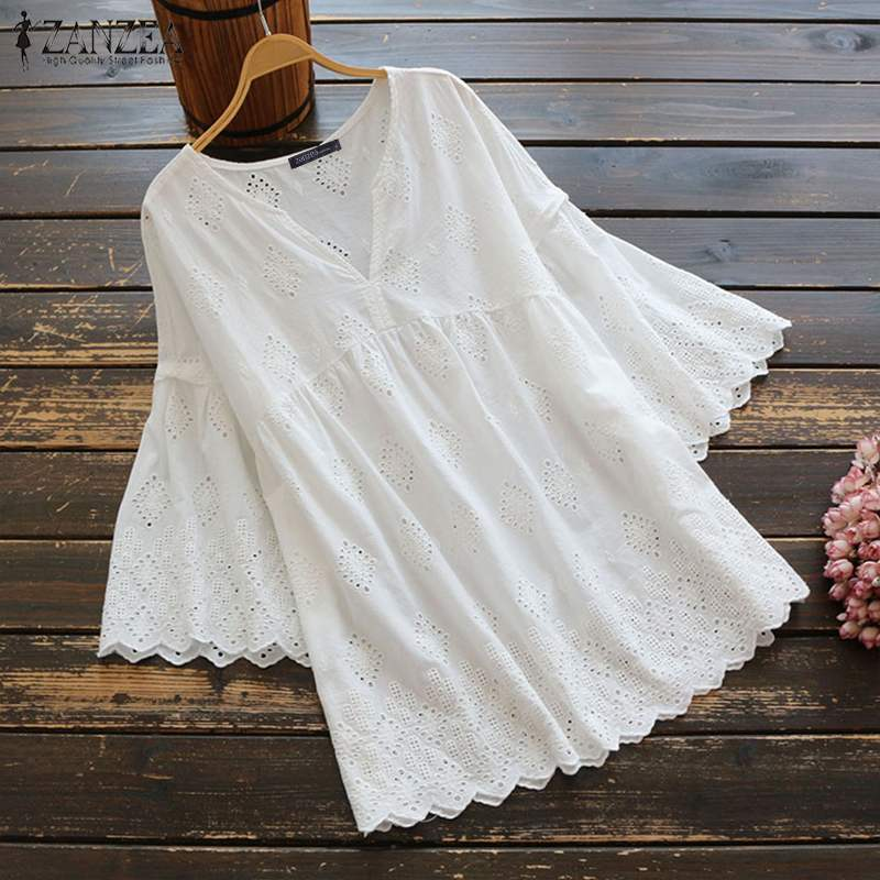 Women Embroidery   Blouse     Shirt   ZANZEA 2019 Summer Ladies Casual Flare Sleeve Hollow Out Cotton Loose Tunic Tops Blusas Plus Size