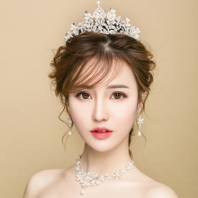 Grace Gorgeous Brilliant Bridal Tiara Wedding Crown Necklace Accessories Baroque Handmade Jewelry Set For Wedding