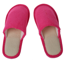 Hot pink Men Women Home Anti-slip Shoes Soft Warm Cotton Sandal House Indoor Slippers 26.5