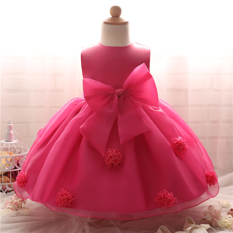Toddler Baby Girl Wedding Christening Dress With Bow First Birthday