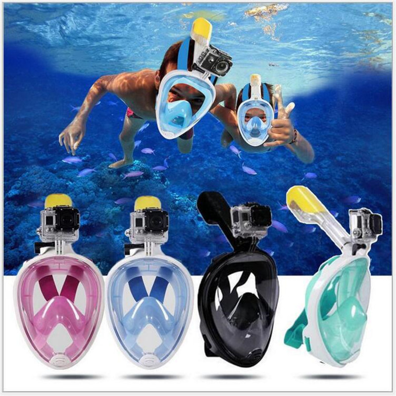 Underwater Anti Fog Diving <font><b>Mask</b></font> Snorkel Swimming Training Scuba mergulho 2 In 1 <font><b>full</b></font> face snorkeling <font><b>mask</b></font> For Gopro Camera