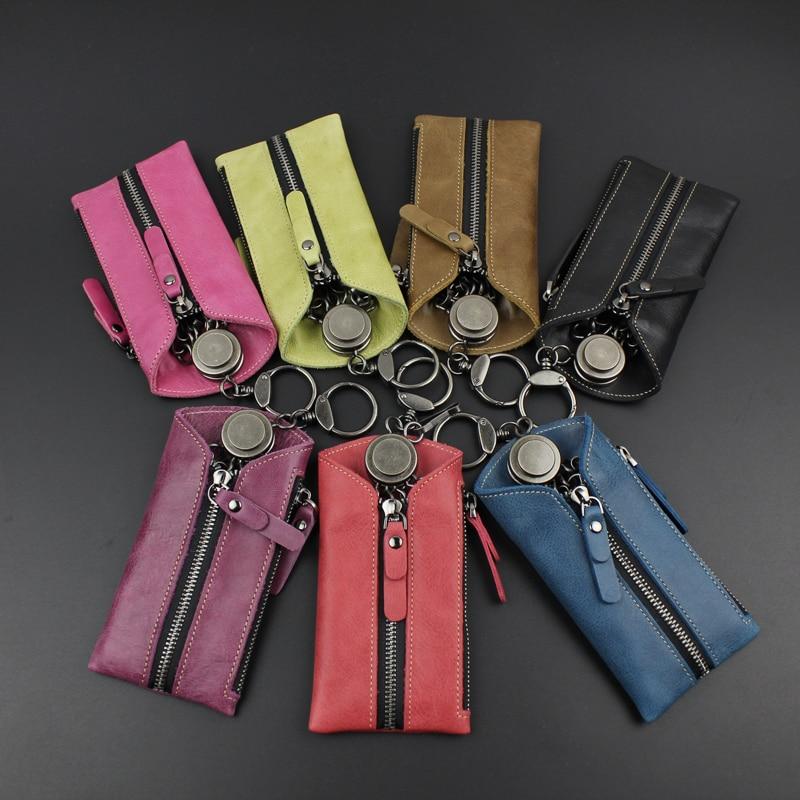 Llavero Llaveros Mujer Key Holder , New Lea Key Bag Leather Multi-function Zero Wallet Zipper Head Layer Cowhide. Lady Chain
