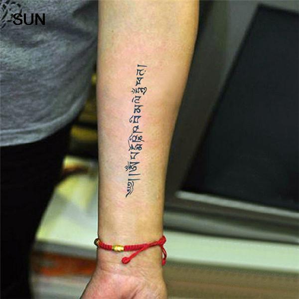 055 Resistente Al Agua Tatuaje Temporal Budista Tibetano Sánscrito Letra De Modelo Tatúa La Etiqueta Engomada Mujeres Y Hombres Hombro Del