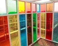 80センチ× 1メートル断熱窓フィルムステッカーソーラー反射カラー青緑紫赤タンピンクイエローガラスを飾る