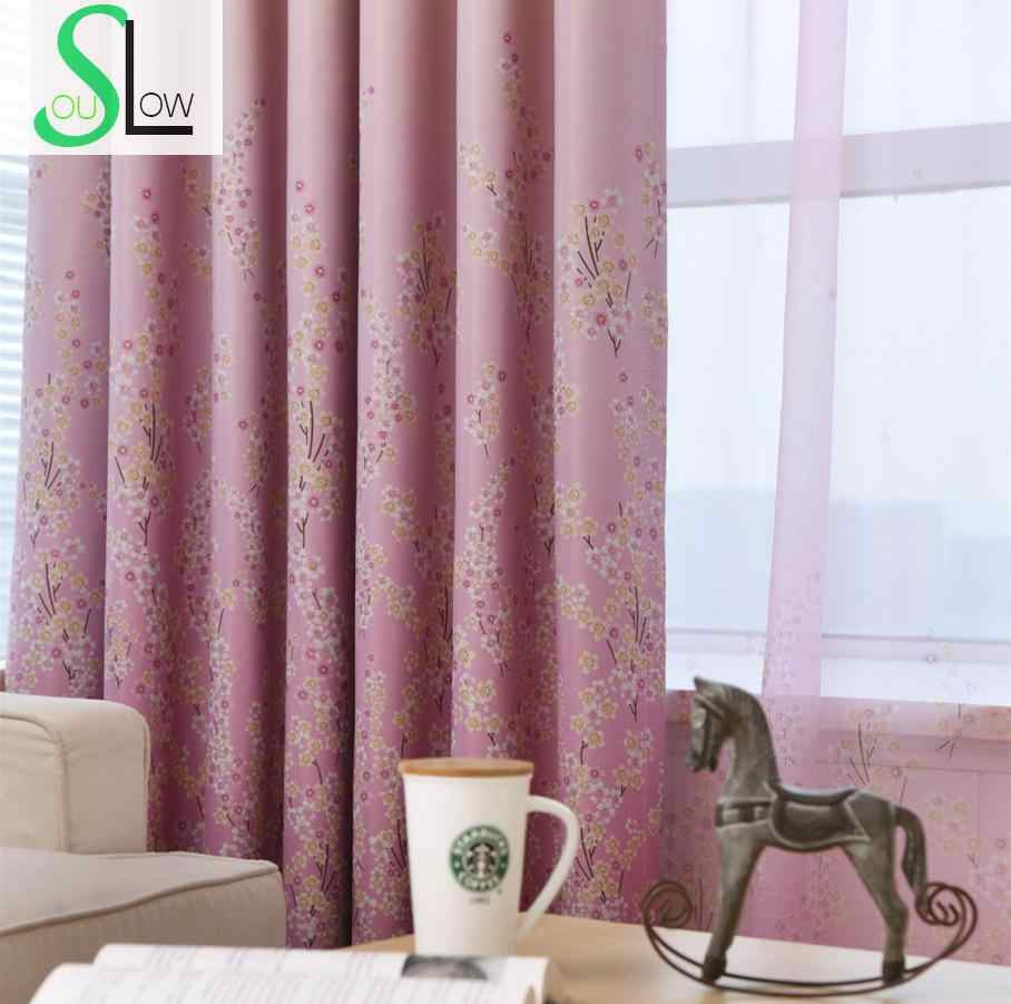 Slow Soul Pink Blue Pastoral Bedroom Living Room Curtain Lavender