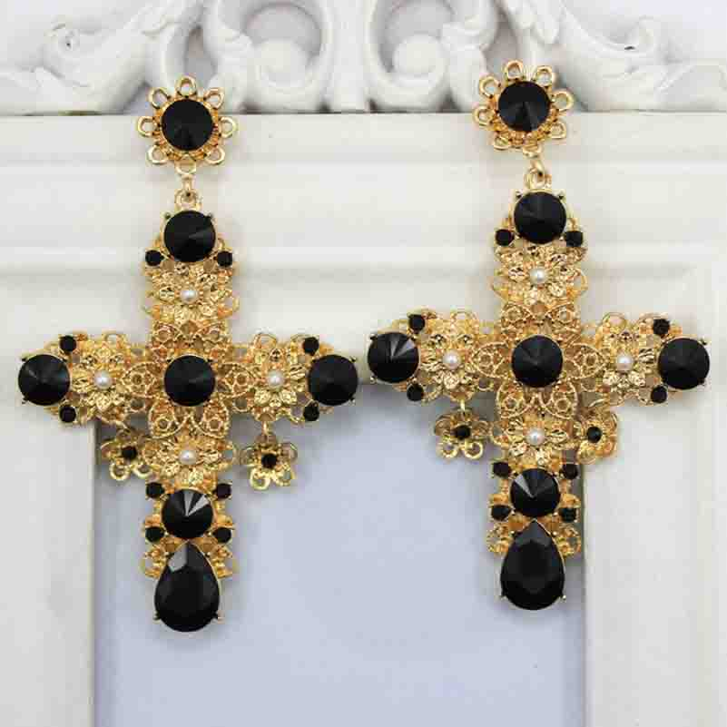 Baroque Style D G Large Big Cross Earrings Black Red Crystal Exaggeration Dangle Ear Jewelry 2016