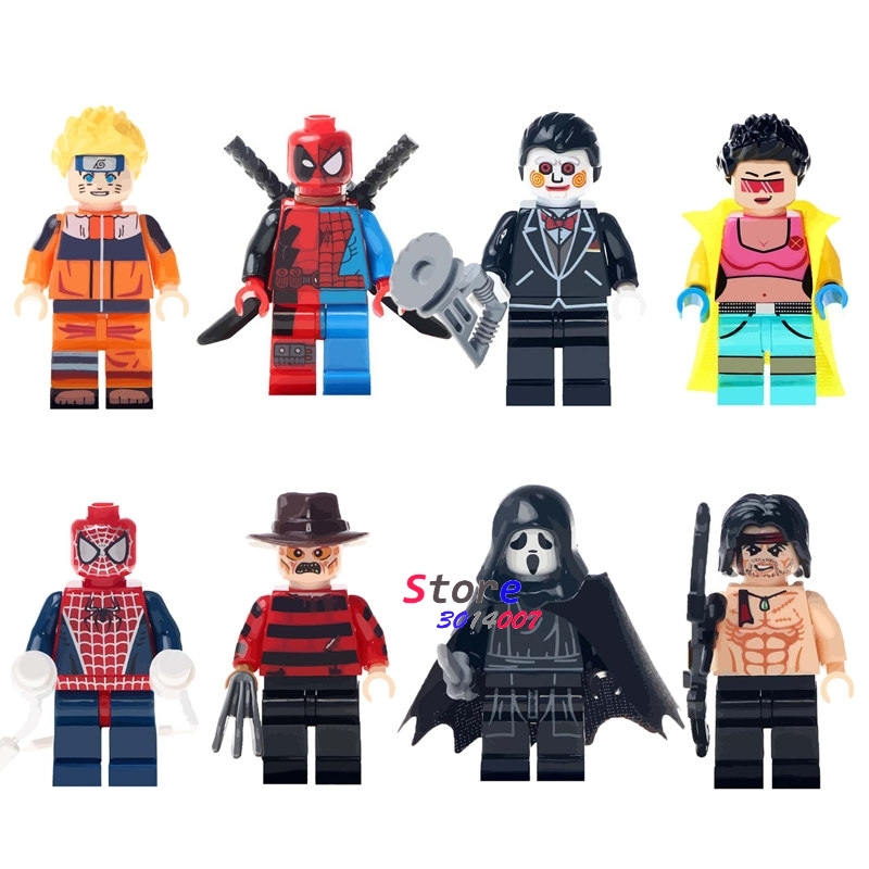 Single Super Heroes Halloween Freddy Krueger Horror Theme Movie Jubilee Uzumaki Rambo building blocks bricks toys for children plastic standing human skeleton life size for horror hunted house halloween decoration