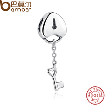 BAMOER Authentic 100% 925 Sterling Silver Lock Charms Key To My Coronary heart Beads Appeal Match BME Bracelet & Necklace PAS050