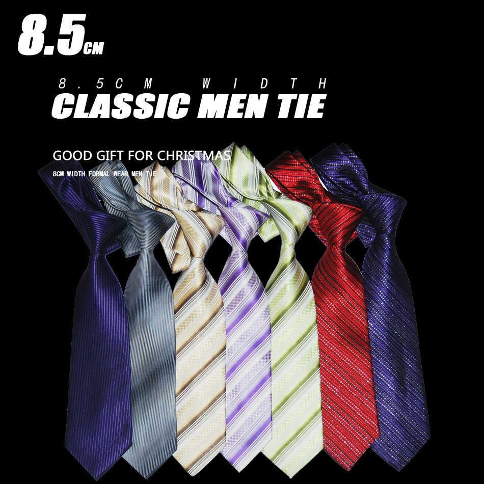 8.5cm Wide Suit Tie Striped Men Pure Silk Necktie Fashion Jacquard Woven Formal Wear Business Wedding Party Gift For Christmas