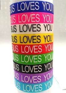 Image 2 - Pulseras de silicona con Jesús para hombre y mujer, brazaletes de goma con Jesús que te ama, joyería religiosa para hombres y mujeres, joyería de Jesús, 50 Uds.