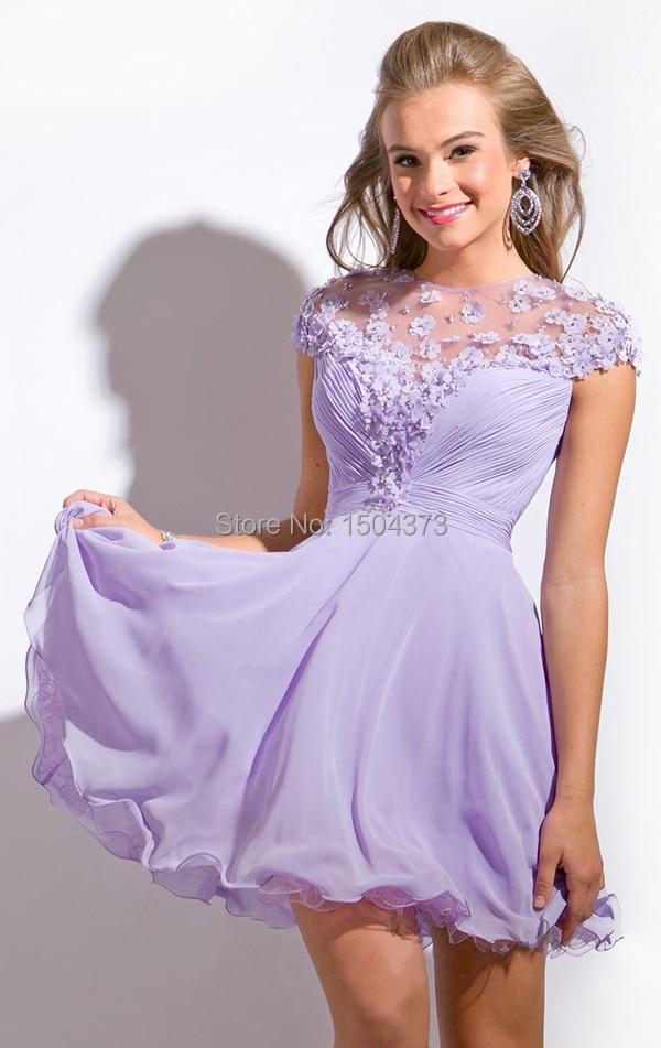 Vestido de Festa Curtos lila Vestido corto de baile Floral que ...