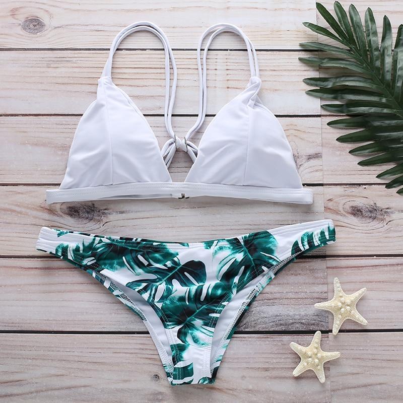 Summer Two Piece Floral Printed Sexy Bra Set For Women Split Bikini Female Beach Bathing Wearing Plus Size in Bra Brief Sets from Underwear Sleepwears