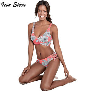 61d447a86f380 Women Bikini Set 2018 Push Up Bathing Suits Pin Up Swimsuit Flower Print  Swim Wear
