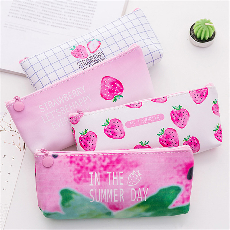 Kawaii Strawberry Pencil Case For Girls School Pencilcase Cute Korean PU Penal Pen Bag Large Big Penalties Stationery Box Pouch