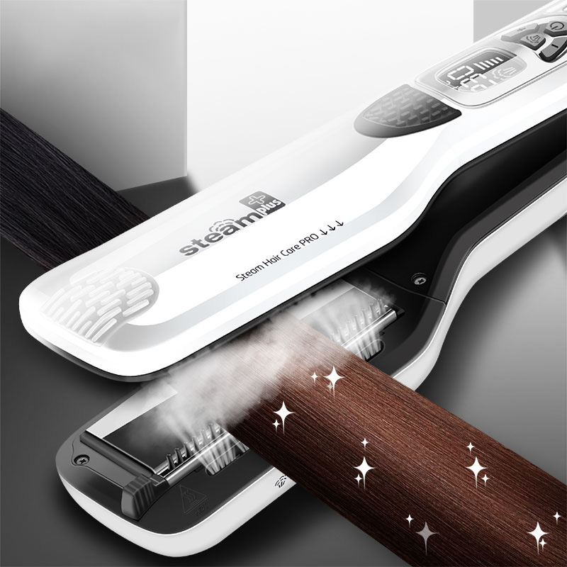 Professional Steam Hair Flat Iron Vapor Spray Hair Straightener Brush Hair Straightening Electric Steam Straightener Styling chj professional steam hair straightener brush ceramic flat iron vapor chapinha electric steam hair straightener comb hair irons