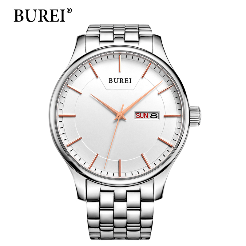 BUREI Man Watch Rose Gold Quartz Wristwatches Top Stainless Steel Clocks Male Luxury Black Dial Day