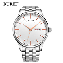 BUREI Man Watch Rose Gold Quartz Wristwatches Top Stainless Steel Clocks Male Luxury Black Dial Day And Date Watches For Men