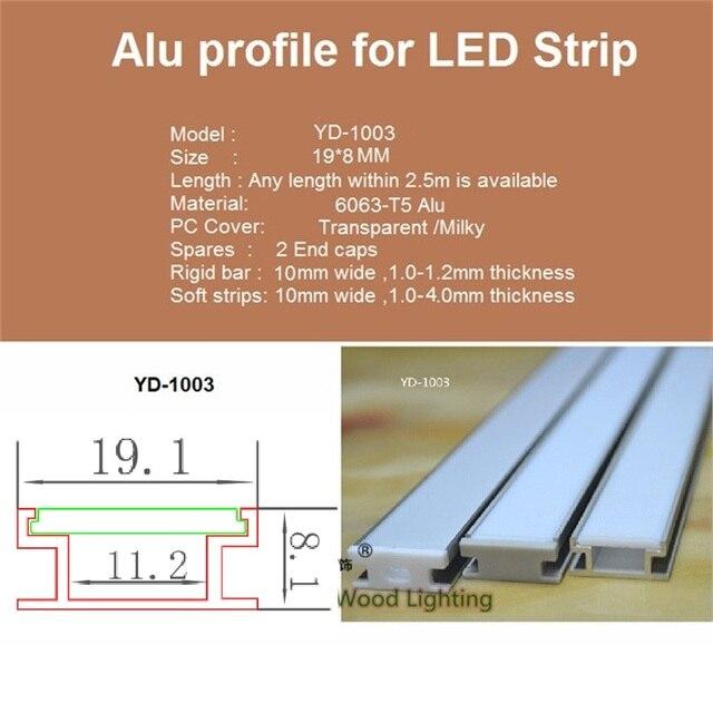 Profil en aluminium de 10-30 pcs/lot 200 cm pour la bande menée, canal incorporé pour la lumière de barre de led de panneau de carte PCB de 8-10mm, profil mince enterré