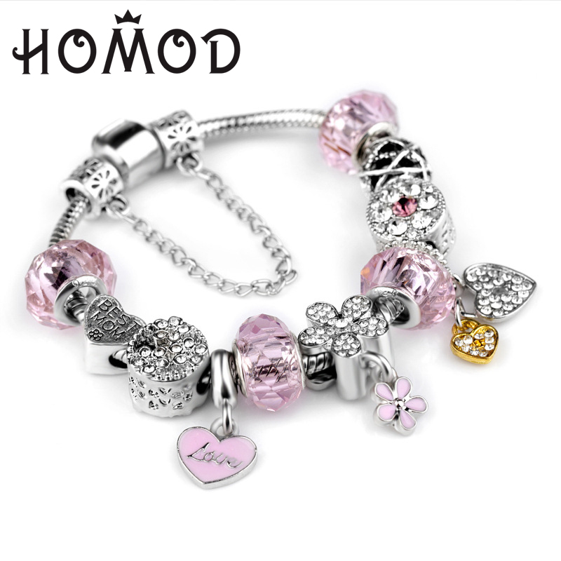 HOMOD Luxury Silver Charm bracelet for Women Fashion DIY Pink Heart Beads Jewelry Fit Original Pandora Bracelets Pulseira Gfit