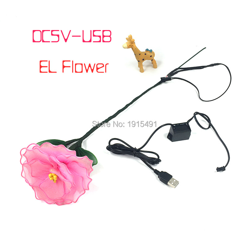 New Style Popular EL Wire Tube Sparkling Fancy Dance Accessory Floral Computer Television Backlight Led Strip Birthday Gift Hana
