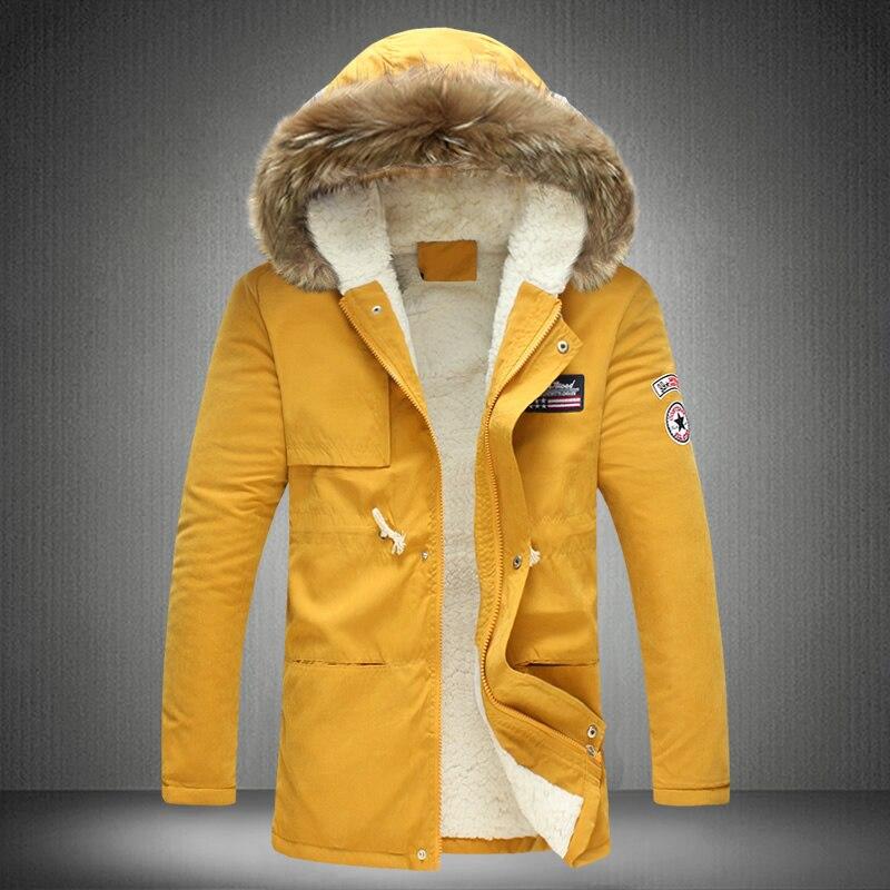 2017 Nuovo Inverno Cappotti Parka Uomini Giacca Con Cappuccio Caldo di Spessore Collo di Pelliccia Outwear Più Il Formato M-3XL 4XL 5XL